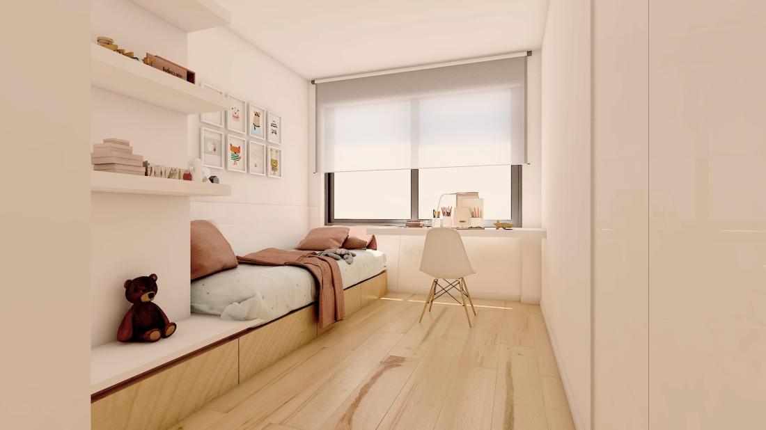Habitación chica_pared blanca_Ropa de cama Rosa